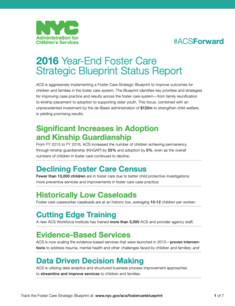 2016 Year-End Foster Care Strategic Blueprint Status Report